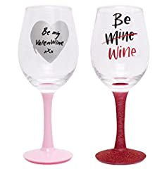 Idea Regalo - 1 x San Valentino, bicchiere di vino all for you drink Girl Woman Gift Love be My Valentine Couple Girlfriend Her rosso rosa cucina vetreria Random