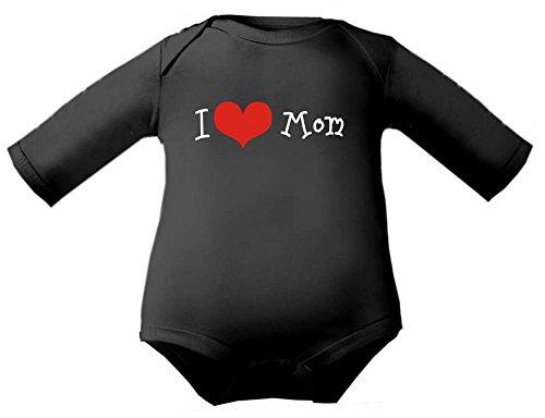 Petite Frimousse Body de bébé garçon Baby Body à manches longues fille I love mom - Noir - 3 ans