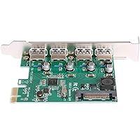 Hillrong - Adaptador de Tarjeta de expansión USB 3.0 (4 Puertos, PCI-E a USB 3.0)