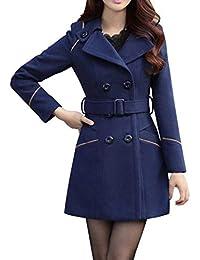 Laisla fashion Manteau Femme Longues Mode Double Boutonnage Coat Hiver Manches  Longues Revers Warm Slim Fit 3c343b4aabb7