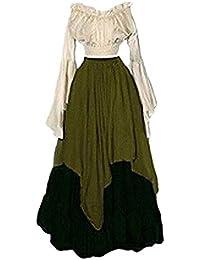 b9b098d2fc60 PengGengA Donna Medievale Vestito Boho Vestito Rinascimento Retro Lungo  Abito Da Sposa Cosplay Costume Vestito Vittoriano