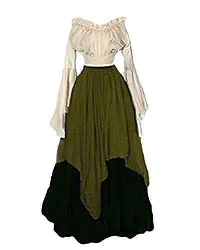 PengGengA Damen Mittelalter Kleid Halloween Party Kostüm Renaissance Maxi Kleider Grün S