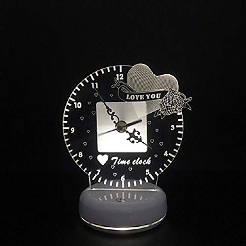 GYBYB 3D Led Night Light Time Clock Lámpara Romantic Heart Love You USB Power Opción de control remoto Interruptor táctil Lámpara de mesa colorida @ Touch_7-Color_Transparent