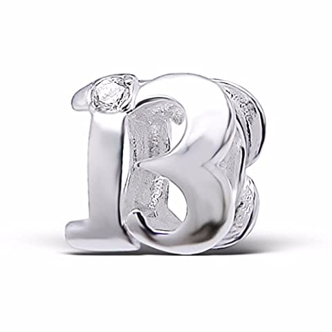 Silvadore - Silver Bead - ''13'' Thirteen Number Figure Numerals Birthday Crystal Cz - 925 Sterling Charm 3D Slide On 409 - Fits Pandora European Bracelet - Free Gift