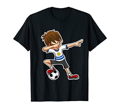 Dabbing Soccer Boy Uruguay Jersey, Uruguayische Kinder Tab T-Shirt (Uruguay Jersey)