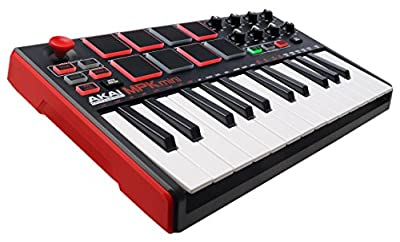 AKAI Professional MPK Mini MKII   25-Key Portable USB MIDI Keyboard with 16 Backlit Performance-ready Pads, 8-Assignable Q-Link Knobs and a 4-Way Thumbstick