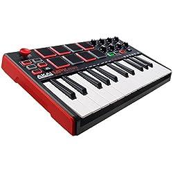 AKAI Professional MPK MINI MKII - Teclado controlador MIDI USB portátil con 25 teclas, 8 pads MPC, 8 potenciómetros, joystick, VIP 3.0 y paquete de software incluido