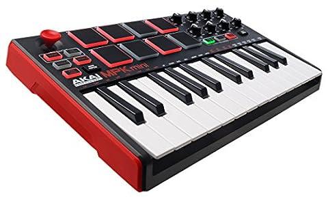 AKAI Professional MPK Mini MKII, Portables 25 Tasten USB MIDI Keyboard mit 16 hintergrundbeleuchteten Performance Ready Pads, 8 zuweisbare Q Link Regler, Vier Wege Thumbstick, VIP 3.0, Software Paket
