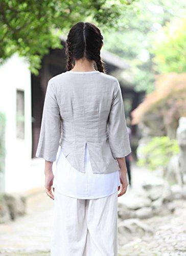 Yue Lian Damen 3/4 Ärmel Zweiteilige Bluse Lotus Muster Chinesisch Cheongsam Hellgrau