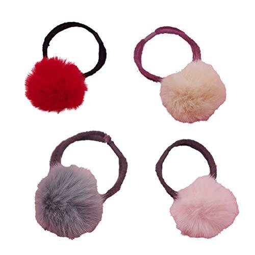 4 x elastische Haargummis süße Plüschbälle Haarring Weicher Bommel Haarband Haarschmuck für...