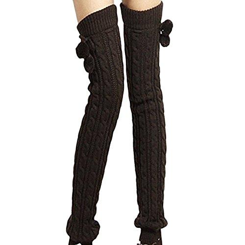 Tininna Beinwärmer Damen-Leggings für den Winter, warm, aus Wolle, lange Kniestrümpfe, Flechtmuster, Strickware, überdeckt die Stiefel Gr. Einheitsgröße, schwarz