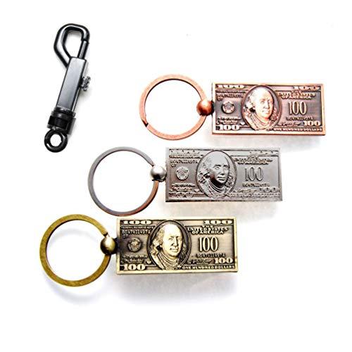 $100Hundred Dollar Bill NY silber & bronze uns Patriotische NYC Souvenir Geschenk Schlüsselanhänger Key Ring Pack of 3 color