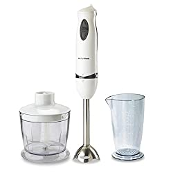 Morphy Richards HBCP Hand Blender | 400 WattsDC motor for silent and consistent performance | 2 speed soft push button | Detachable plastic leg for easy cleaning, slim ergonomic design | Comfortable grip for ease of use, wall mountable | Attachments: Chopper and Beaker