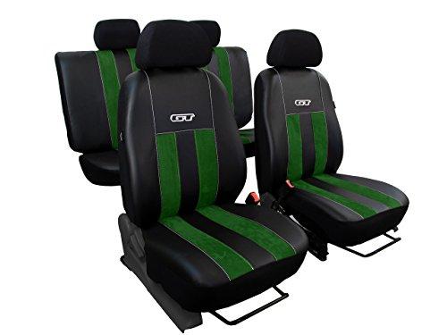 POK-TER-TUNING Autositzbezüge, Sitzbezüge Set Kunstleder mit Alkantra - Design GT. In diesem Angebot GRÜN (In 8 Farben bei Anderen Angeboten erhältlich)