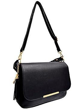 CRAZYCHIC - Damen Große Umhängetasche mit Troddel und Gold Reißverschluss - Handgelenk Tasche mit Schulterriemen...