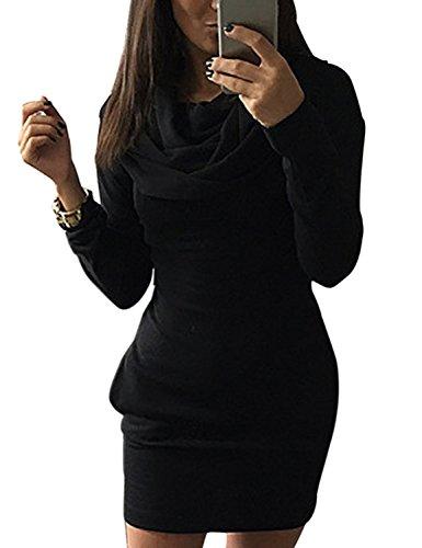 Minetom Donna Autunno Casual Maniche Lunghe Tasca Slim Felpa con cappuccio Pullover Giacca Outwear Nero IT 46