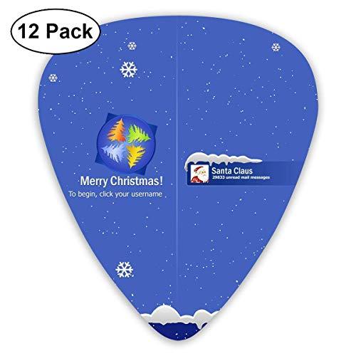Merry Christmas Santa's Computer Desktop Guitar Picks - 12 pack,0.46/0.73/0.96 Mm Guitar (Desktop-flags)