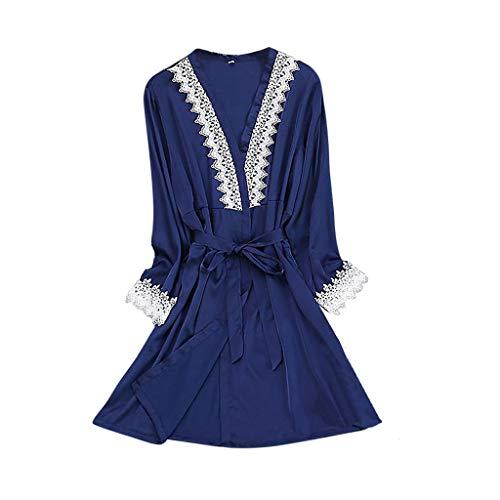 Luotuo Damen Morgenmantel Kimono Sexy Bademantel Satin Kurz Robe Nachtkleid Nachthemd Nachtwäsche Mit Blumenspitze