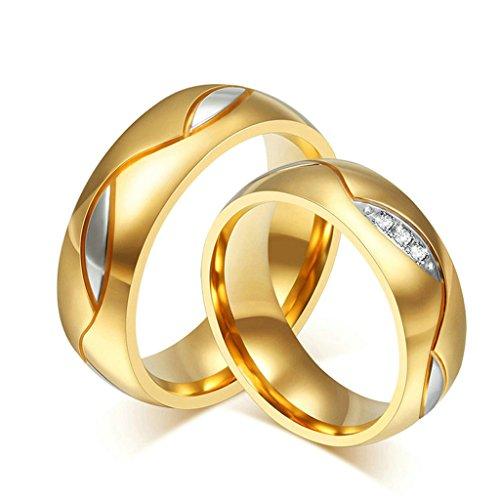 Epinki Acier Inoxydable Bague, 6MM Alliance Engagement Bague Pour Couple Zircon Cubique Taille 49