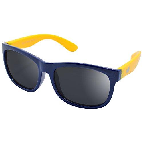 WHCREAT Kinder Polarisierte Sonnenbrille Flexibel Gummirahmen für Mädchen Jungen Alter 3-10 - Dunkelblau Gelb Rahmen Schwarz Linse
