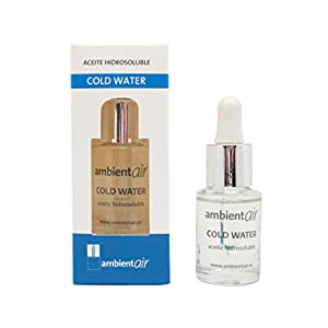 Ambientair. Aceite perfumado hidrosoluble 15ml. Aceite hidrosoluble Cold Water, agua fría, para humidificador de ultrasonidos. Perfume de Cold Water para ambientador de vapor de agua. Aceite perfumado sin alcohol.