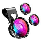 VICTSING Fisheye 3-IN-1 Handy Objektiv Fischauge Linsen (180 Grad Fisheye Objektiv, 0.65X Weitwinkelobjektiv, 10X Makroobjektiv) Handy Kamera Adapter für iPhone 8/ 7/ 6s/ 5s/ 4 iPad Air, Samsung usw