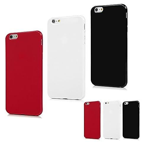 Coque pour iPhone 6 6S Plus Housse Étui TPU Silicone Cover Ultra Léger Créatif Exclusif de Protection de Téléphone Case - 3 Lot (Noir, Blanc, Rouge)