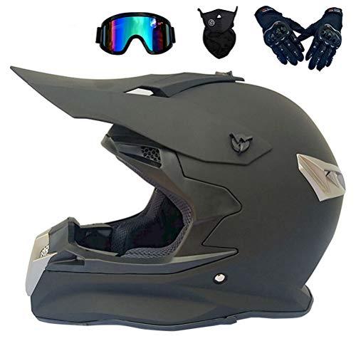 Anderseb Motocross Helm Schwarz, Pro Motorrad Crosshelm mit Brille Pro Fullface MTB Helm Motorradhelm Mopedhelm für Off Road BMX Downhill Bike Dirt Bike Sicherheit Schutz,L58`59CM -