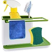 Kasimir Organizador de Fregadero Organizador Limpieza Cocina Soportes y organizadores para Utensilios Soporte de Almacenamiento de Cocina Limpieza de Cocina Organizador plástico Verde y Blanco