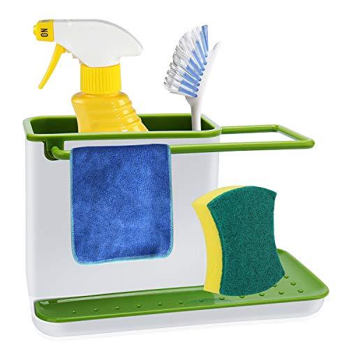 Kasimir porta spugne per lavello organizer lavelli cucina lavello di organizer salvaspazio comodo porta spugne cucina, bianco e verde, plastica, 21 x 11.5 x 13.5 cm