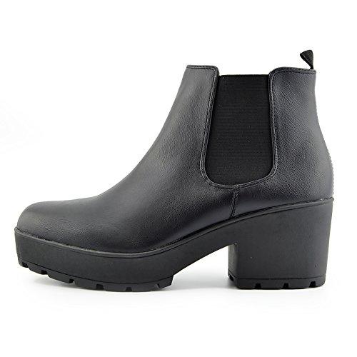 Kick Footwear - Donna Brevetto Tirare Chelsea Stile Rivenditore Ankle Boots,Chunky Suola Casual Stivali Nero opaco