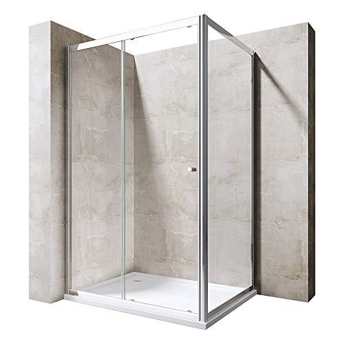 Sogood Eckdusche Duschkabine Rav12 80x110x190 Duschabtrennung Schiebetür Rechts- oder Linkseinstieg ESG-Sicherheitsglas Klarglas inkl. Easy-Clean-Beschichtung