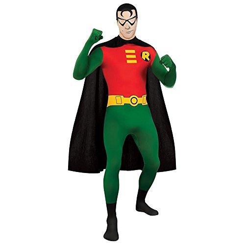 Batman Kostüm Rot - Rubies 2nd Skin Robin Kostüm (Grün/Rot/Schwarz) - Large