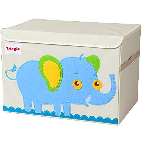 Tsingle contenitore per giocattoli misura grande cassapanca per bambini con coperchio contenitore per giocattoli pieghevole e robusto scatola organizer, portagiochi (elephant)