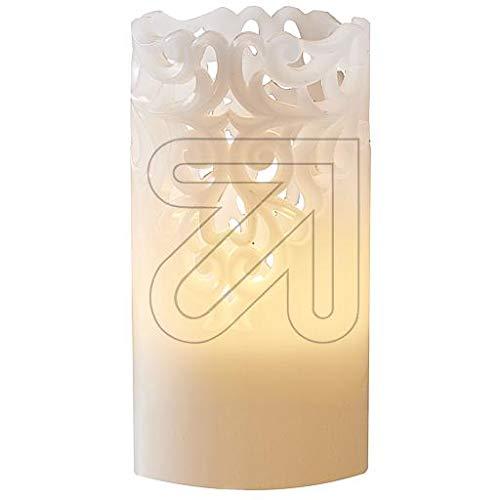 LED Wachskerze warm weiß Kerze - Echtwachs ausgestanzten Rankenornament (Timer-Funktion) (Weihnachten In Der Masse Ornamente)