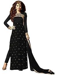 Bigben Black Georgette Embroidery Designer Anarkali Suits - B077VLF8BT