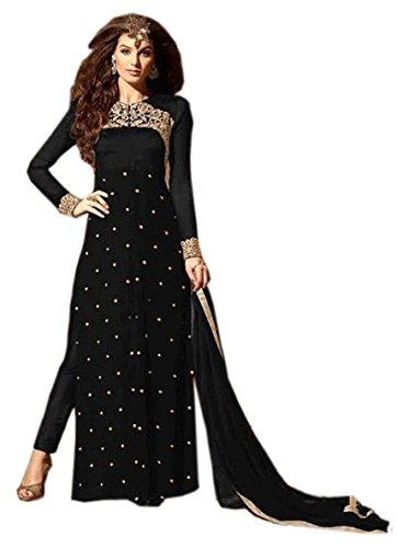 C&H Women's Faux Georgette Dress Material (Ra-4_Black)