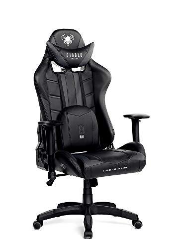 Diablo X-Ray Gaming Stuhl Bürostuhl Schreibtischstuhl 2D Armlehnen Ergonomisches Design Kunstleder Perforation Wippfunktion Belastbarkeit bis 150 kg (schwarz-grau, Standard)