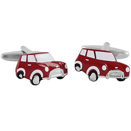 Lindenmann Cufflinks/Cuff Buttons, Silvery with Red Mini, Gift Box, 1672