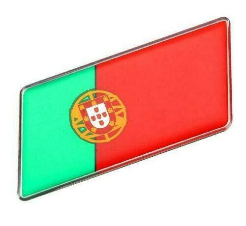 RS Group Aufkleber viele Länder weltweit Metall selbstklebend 3D Schriftzug Flagge Logo Auf Kleber (Portugal, Parallelogram) (Portugal-logo)