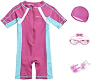 5 in 1 Swimming Suit for Girls Rash Guard Swimingsuit with Goggles, Swim Cap, Nose Clips, Ear Plugs for girls