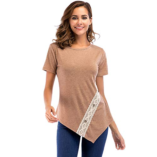 Linkay T Shirt Damen Kurz Spitze-Taste Bluse Tops Lässig Locker Oberteile Mode 2019 (Khaki, Medium) -