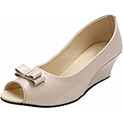 ROCKSY Women's Beige Peeptoes - 6 UK