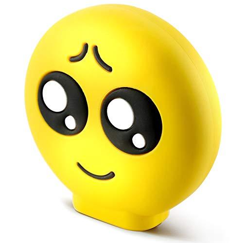 KawKaw Emoji-Powerbank mit 8800 mAh und 2X USB-Anschluss - Viele Motive wie lustige Smileys & süße Emojis - Geschenkidee witzig & inovativ - Kuss, Grinsen, Zwinkern, Zunge, Herzen, Brille (Augen)