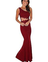 Longra ❤ Vestido largo Sirena cóctel vintage clásico para mujer sin tirantes vestido con appliques