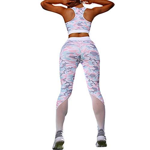 Hosen Damen,Dasongff Damen Printed Fitness Leggings für Laufen Yoga Workout Yogahose High Waist Enge Strumpfhose Sports Pants Sweathose Mit Mesh (Rosa, S)