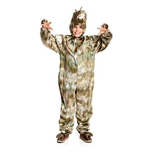 Kostümplanet® Dinosaurier-Kostüm Dino Drache Rex Overall Kinder-Kostüm Junge + Mädchen Faschings-Kostüm Größe 116/128 (Dino 2 Kinder Kostüme)