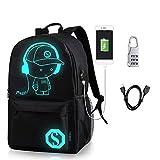 MRSLIU Luminous Rucksack Daypack Schulter Unter 15,6-Zoll mit USB-Ladeanschluss und Schloss Schultasche Schwarz