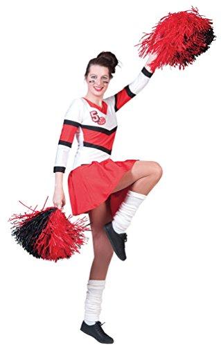 Karneval-Klamotten Cheerleader Kostüm Damen sexy rot-weiß Kleid Langarm Karneval Fasching Größe ()
