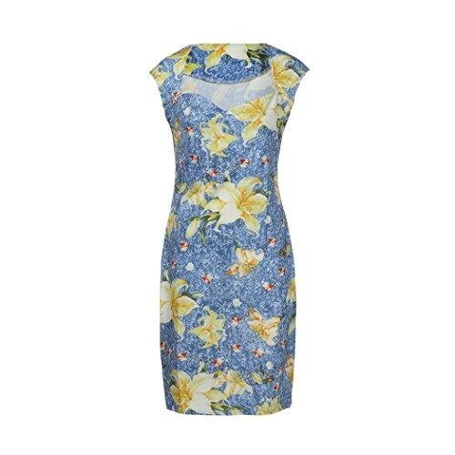 Kleid Damen,Binggong Frauen Ärmelloses V-Ausschnitt Druck Mantel Lady Knielanges Kleid Retro Blumen Schlank Sommerkleider Elegant (S, Blau) Ausschnitt Mantel